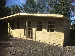 24x12 +4ft canopy 22mm Gloucestershire summerhouse shed Georgian workshop