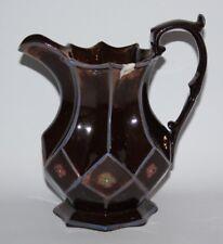 """Antique Copper Lustre Ware - 7 1/2"""" Lozenge Faceted Jug"""