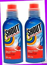 2 Shout Advanced LAUNDRY STAIN REMOVER Set-In Stain SCRUBBER Concentrated Gel