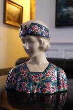 Buste de femme style Art déco faïence La Louvière style émaux Longwy