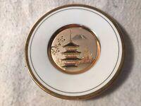 "The Art Of Chokin 6"" Plate Pagoda Building Gilded 24K Gold Metal Japan"