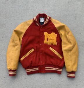 Vtg DeLong Letterman Varsity Athletic Jacket USA MADE Men's 40 Leather / Wool