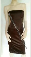 BEBE Satin Brown Espresso Black Strapeless Dress XS 0 2 S Small Shoes 6 7