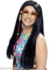 Smiffys Adulti Donna Lungo Nero Parrucca Hippy Hippie Hen Night Costume