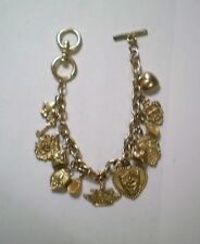 Gold Tone Bracelet British Style 13 Charms Crown Shield Coat of Arms Key Heart