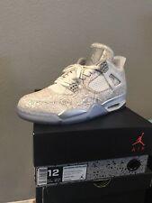 "Nike Air Jordan 4 Retro ""Laser"" White Chrome Silver 705333-105 Size 12- 6/A5869*"