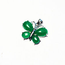 Malaysian Green Jade Pendant  with Rhodium Plated Bail in Dragon Design