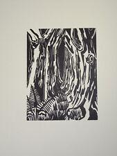 GRAVURE SUR BOIS ORIGINALE Georges JEANTILS ART ABSTRAIT FUTAIE ARBRE 1951