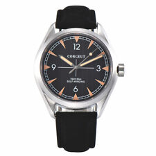 Corgeut Sapphire crystal Luminous Automatic mechanical mens Watch Leather strap