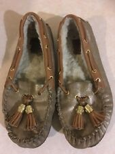Tory Burch Monogram Tan Leather Round Toe Fur Trim Moccasins Slippers Size 10
