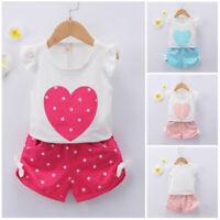 2pcs toddler Kids baby girls summer clothes girls outfits top+short pants heart