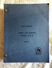 BATMAN 1966-68 TV Show Rare Near-Mint Item - 20th Century Fox Music Cue Sheets!