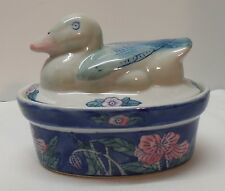 Small Casserole Dish Dessert Dish Duck Covered Blue White and Pink Vintage