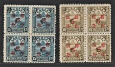 China 1936 Surcharged on Reaper (2v Cpt, B/4) Fresh MNG