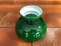 "Vintage Green Glass & White (Inside) Student Lamp Shade, 4 1/2"" T, 5 1/2"" Fitter"