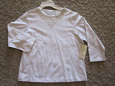 Laura Ashley NWT Petite M White 3/4 Sleeve Embellished Colored Rivets Top $68!!