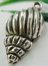 Wholesale free ship 44pcs tibet silver conch charms 25x13mm