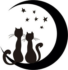 vinilos decorativos para paredes adhesivos decoracion gato y luna enamorado