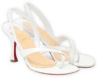 Christian Louboutin Taralita Leather Slingback Sandal [Size 37.5] White NWT $695