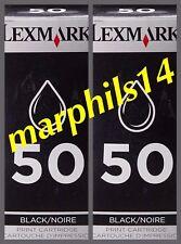 Lexmark 50 x 2. Genuine LEXMARK 50 Black  Ink Cartridges - Original! 2pcs