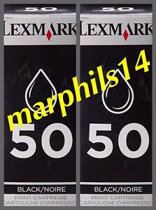 Lexmark 50 x 2. Genuine LEXMARK 50 Black  Ink Cartridges - Original 2pcs 17G0050