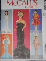 Barbie Doll Size Doll Clothes Dress Gowns McCalls 7520 Sewing Pattern