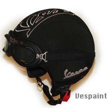 Casco Vespa Vintage retrò personalizzato in pelle nero ricamo bianco S,M,L,XL