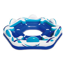 Summer Waves Inflatable 6 Person Party Pad Beach Lake Float w/ Cupholders (Used)