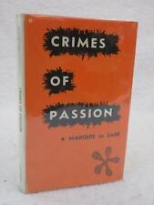 Marquis De Sade CRIMES OF PASSION 1965 Philosophical Library, NY HC/DJ