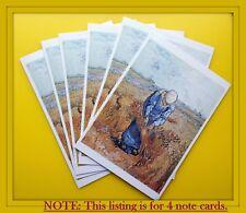 VAN GOGH - Set of 4 Note Cards - Peasant Woman Binding Wheat