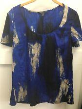 Banana Republic Blue White Black Silk Short Sleeve Career Blouse Top Sz S  Pb