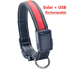 USB/Solar Rechargeable LED Flashing Adjustable Safety Dog Pet Collar Light Up
