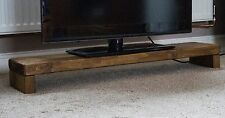 100cm Rustic TV Stand LED LCD Plasma Industrial Wood Solid Chunky Oak Finish