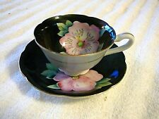 Shafford Cup and Saucer, Pink, Gold, Green & Black Floral Japan, Really Nice