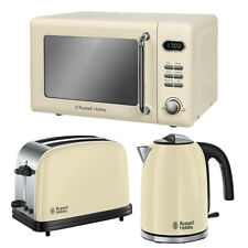 Cream Microwave Kettle and Toaster Set Cheap Best Deal Russell Hobbs On Sale Buy
