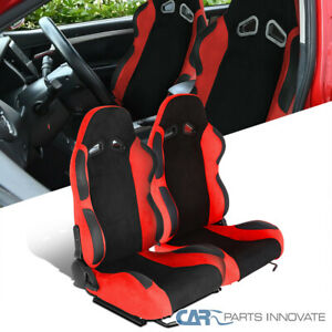 Black/Red Suede Stitch PVC Leather Reclinable Racing Seats w/Sliders Left+Right