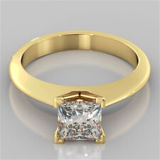1.50 Ct Princess Cut Diamond Engagement Ring 14K Solid Yellow Gold Rings Size N