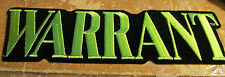WARRANT PATCH EMBROIDED 90'S METAL  SUPER LARGE COLLECTABLE RARE VINTAGE  G