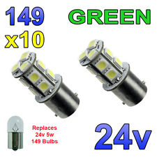 10 x Green 24v LED BA15s 149 R5W 13 SMD Number Plate Interior Bulbs HGV Truck