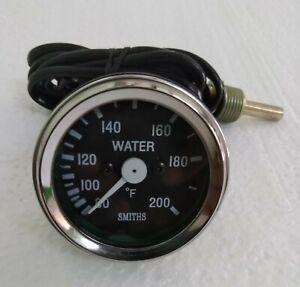 Smith Black Water Temp Gauge Chrome Bezel 52 mm Gauge 200 Fahrenheit coolant