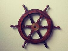 "18"" Wood / Brass Ship Wheel ~ Boat Captain Steering Helm ~ Nautical Wall Decor"