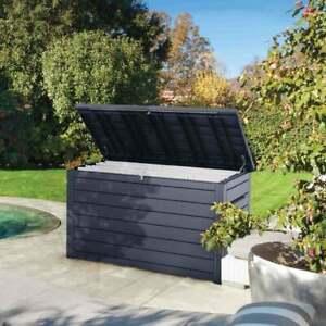 Keter Ontario Rockwood XXL Garden Storage Box 870 L  Wood Charcoal Brown Or Grey