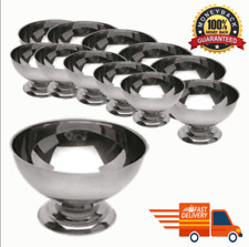 New 12Pcs Ice Cream Cup Set Stainless Steel Bowls Fruit Salad Desert Gift