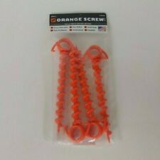 Ground Anchor Screw Heavy Duty 4 Pack Size Small - Orange (Tents, Dogs, Camping)