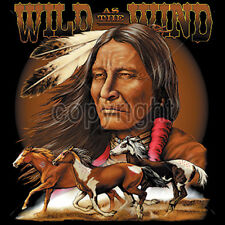 Wild As The Wind Native American Indian Running Horses T-Shirt Tee
