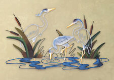 Cranes at Water Coastal Scene Reeds & Cattails Sculpture Metal Wall Art Decor