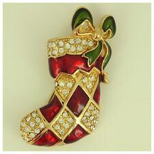 Vintage Monet Gold Tone Red Green Enamel Rhinestones Christmas Stocking Brooch