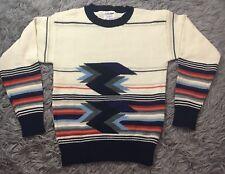 Collageman Vintage Striped Sweater Cream Red Orange Sz M Southwestern Print
