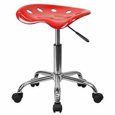 Delacora Ff Lf 214a Red 17w Metal Swivel Seat Stool With Tractor Seat