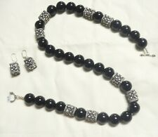 Natural Black Onyx Necklace and Silver Beads with Earrings Silver.